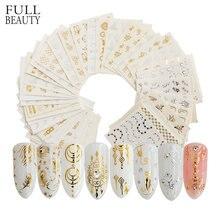 Full Beauty de uñas doradas y plateadas, calcomanía con diseño de pluma, flor, Araña, decoración de uñas, manicura, deslizante
