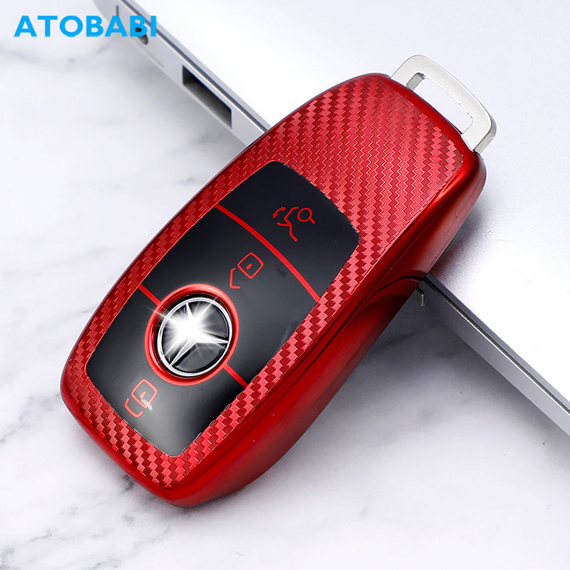 TPU yumuşak araba anahtarı kapağı Mercedes Benz A r E r E r E r E r E r E r E r E r E r E sınıfı AMG 2019 2020 3 düğmeler akıllı anahtarlık karbon stil uzaktan koruyucu kılıf