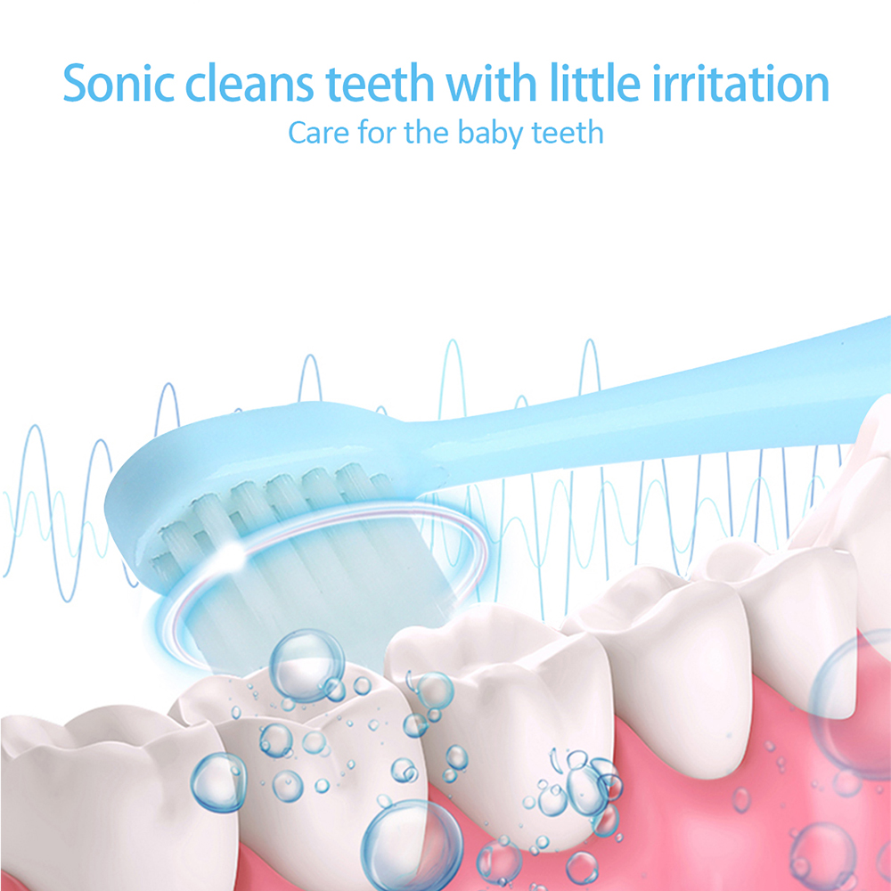 Children Automatic Electric Toothbrush USB Rechargeable Cartoon IPX7 Waterproof Ultrasonic Tooth Brush Replacement Brush Head