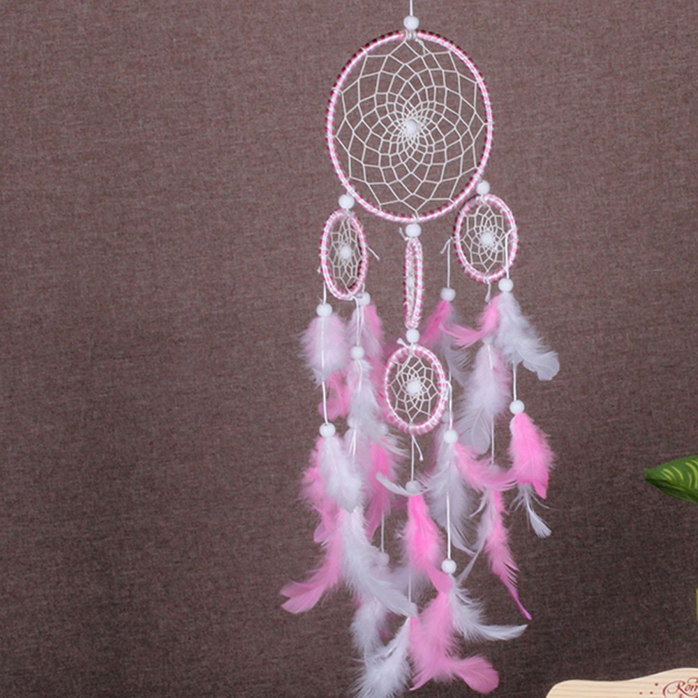 1pc Round Dream Catcher Brown Red Wall Hanging With Feather Bead Ornament Decoration Car Hanging Wall in Wind Chimes Hanging Decorations from Home Garden