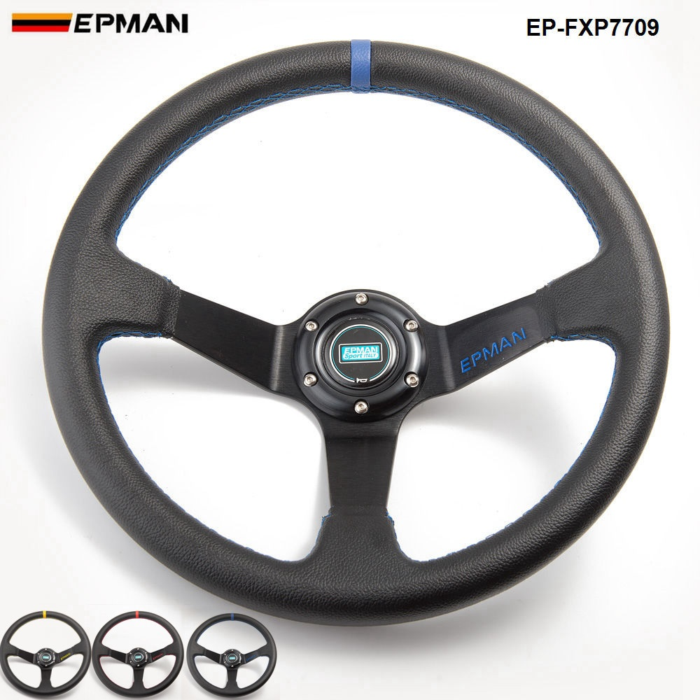 14inch 350mm Epman Deep Corn Drifting PVC Steering Wheel  Universal Car Auto Racing Steering wheels EP-FXP7709