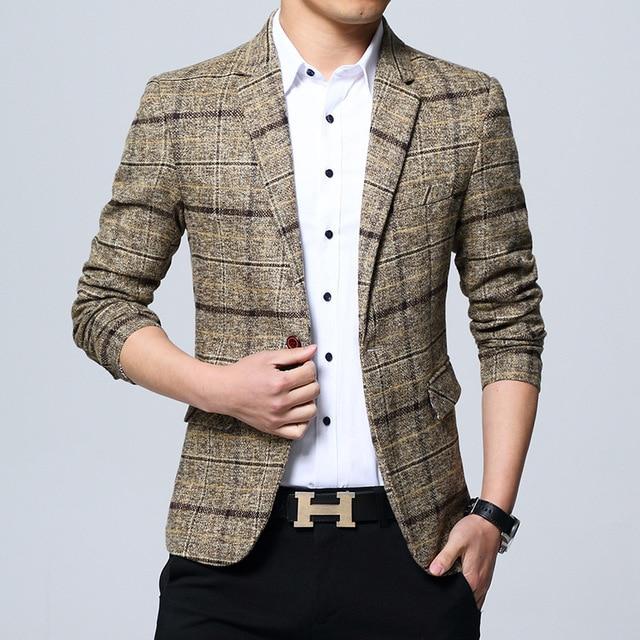 Hot Sale New Fashion Spring Autumn Plaid Men Suit High Quality Mens Suit Jacket Business Casual Suit Slim Masculino Blazer