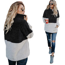 Plus Size Trui Vrouwen Sweater Half Zip Fuzzy Fleece Jas Winter Jas Uitloper Met Zakken(China)