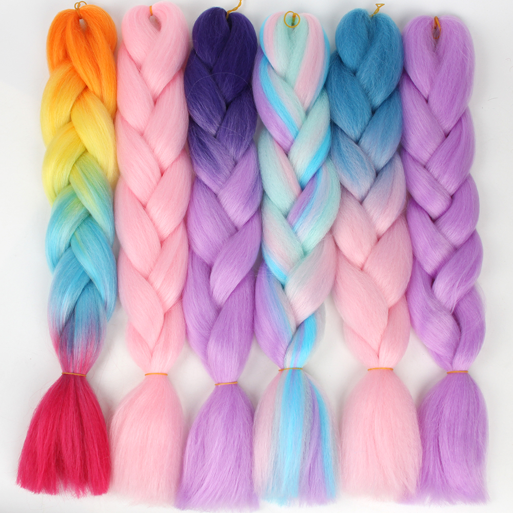 Prestretched Straight Ombre Braiding Hair Extensions Pageup Afro Jumbo Crochet Braids Blue Expression Synthetic Hair