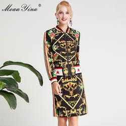 MoaaYina/модный дизайнерский комплект; сезон весна-зима; женские Теплые Топы на молнии с длинными рукавами + Юбка До Колена; костюм из двух