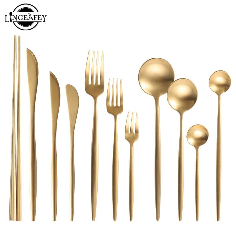 Gold Cutlery Set 304 Stainless Steel Cutlery Set Chopsticks Butter Knife Dessert Spoon Dinner Fork Tea Ice Spoon Tableware Set 1