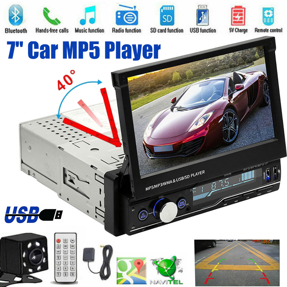 """T100 Car Stereo MP5 Multimedia Player 7"""" Retractable Car Stereo Din Car MP5 Player Support   Mobile Interconnection"""
