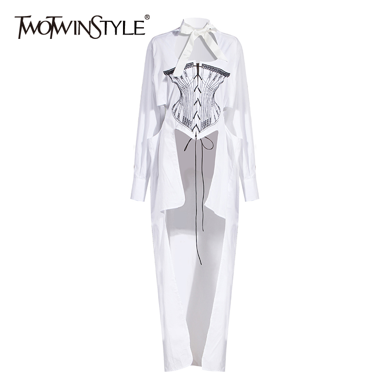 TWOTWINSTYLE Casual Embroidery Women Blouse Bow Collar Long Sleeve Hollow Out Hit Color Bandage Irregular Hem Shirt Female Tide