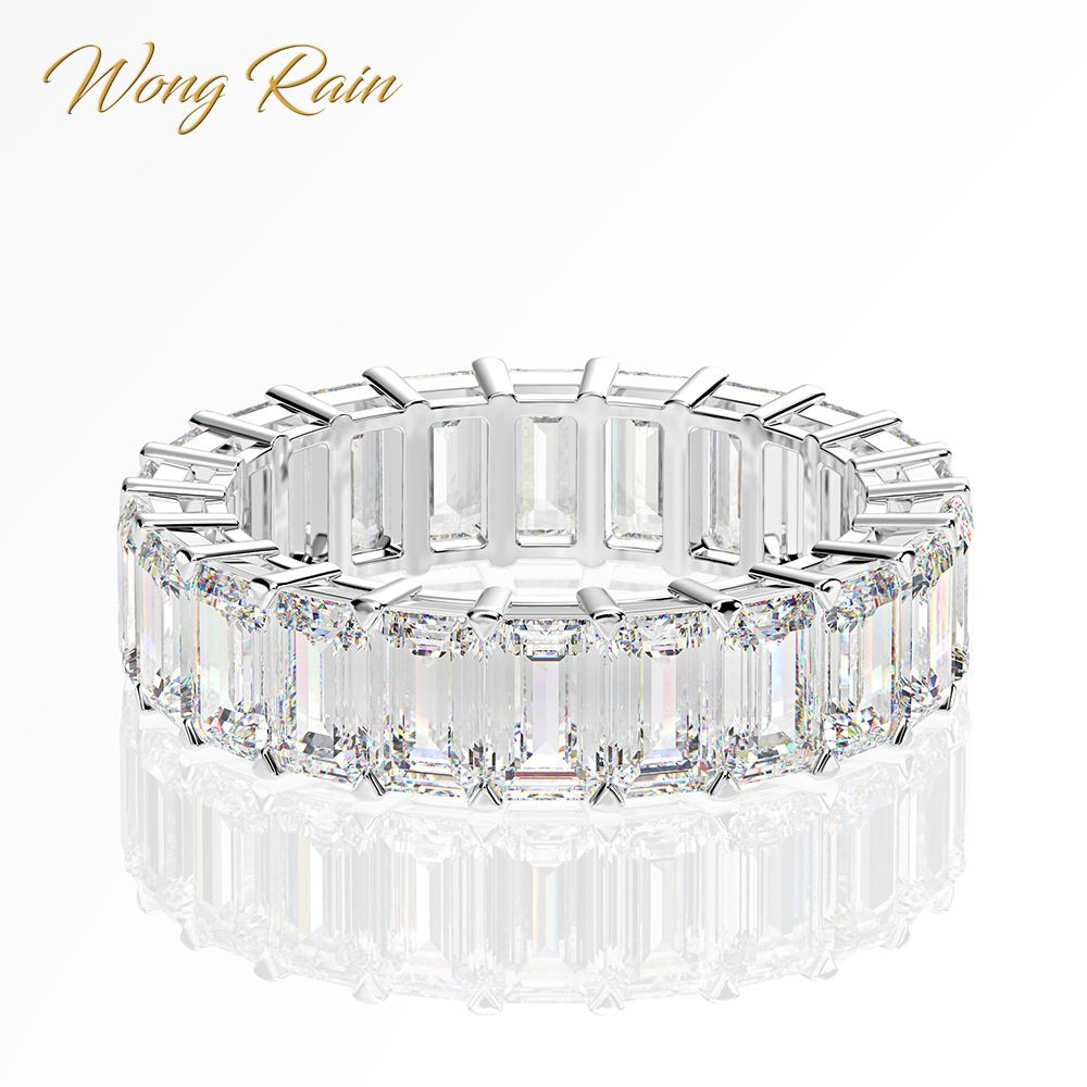 Wong Rain Luxury 925 Sterling Silver Created Moissanite Gemstone Wedding Band Engagement White Gold Ring Fine Jewelry Wholesale