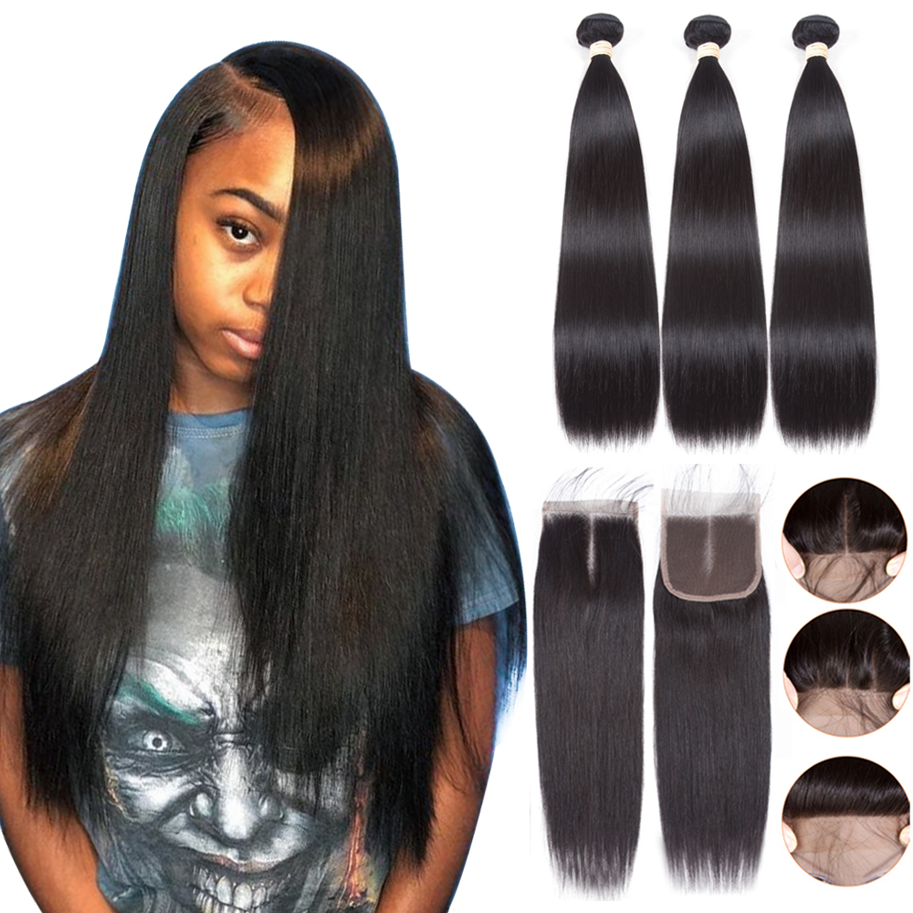Straight Hair Bundles With Closure Brazilian Human Hair Bundles With Closure Remy SAPPHIRE Bundles Straight Hair With Closure