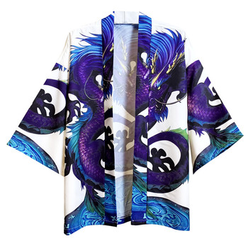 summer men Japanese shirt short sleeve harajuku Printed Yukata slim fit kimono shirts for men 2020 camisa masculina