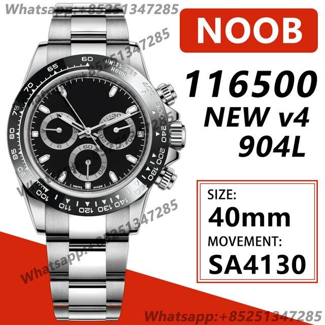 Men's Chronograph Watch Daytona 40MM 116500 Brown Ceramic Bezel Noob 1:1 Best Edition 904L SS Case Bracelet White Dial SA4130 V4 2