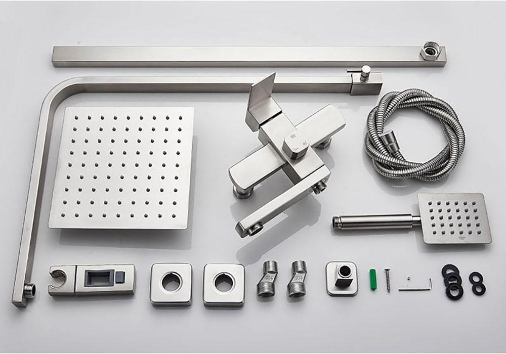 H7a77236df43541b6949c851203fff661b POIQIHY Black Bathroom Shower Faucet Set Wall Mount Black 8''Rainfall Shower Head With Handheld Sprayer Bathtub Shower Mixer