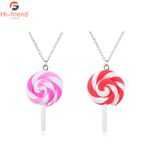 Lollipop Necklace Female Clavicle Korean Version Ins small and lovely pink set chain factory custom wholesale jewelry