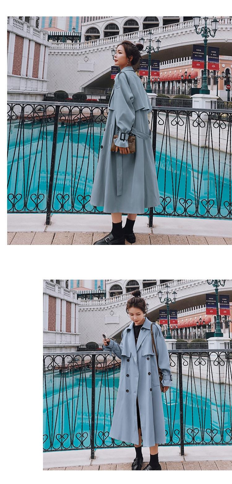 H7a7738649d9842ed9256fb03c1b2dcfcv 2021 Autumn Women Trench Coat With Belt Women Clothes Blue Coat Casaco Feminino Harajuku Abrigo Mujer Long Trench Femme