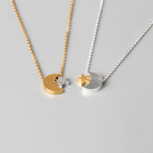 Silver Star Statement Necklace Gold Colour Moon Necklaces Womens Jewelry Stainless Steel Choker Ketting Bijoux Femme