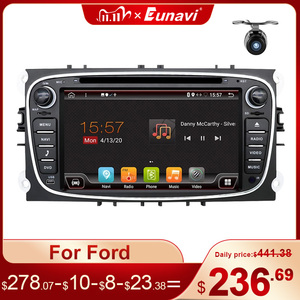 Image 1 - Eunavi 2 Din Android Car DVD Multimedia Player GPS for FORD Focus 2 II Mondeo S MAX C MAX Galaxy 2Din 4G 64GB IPS Touch screen