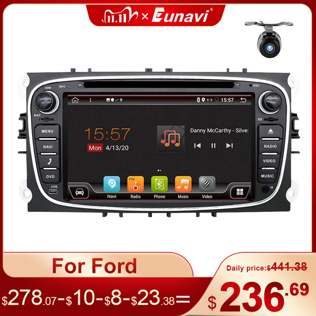 Eunavi 2 Din Android Car DVD Multimedia Player GPS for FORD Focus 2 II Mondeo S MAX C MAX Galaxy 2Din 4G 64GB IPS Touch screen