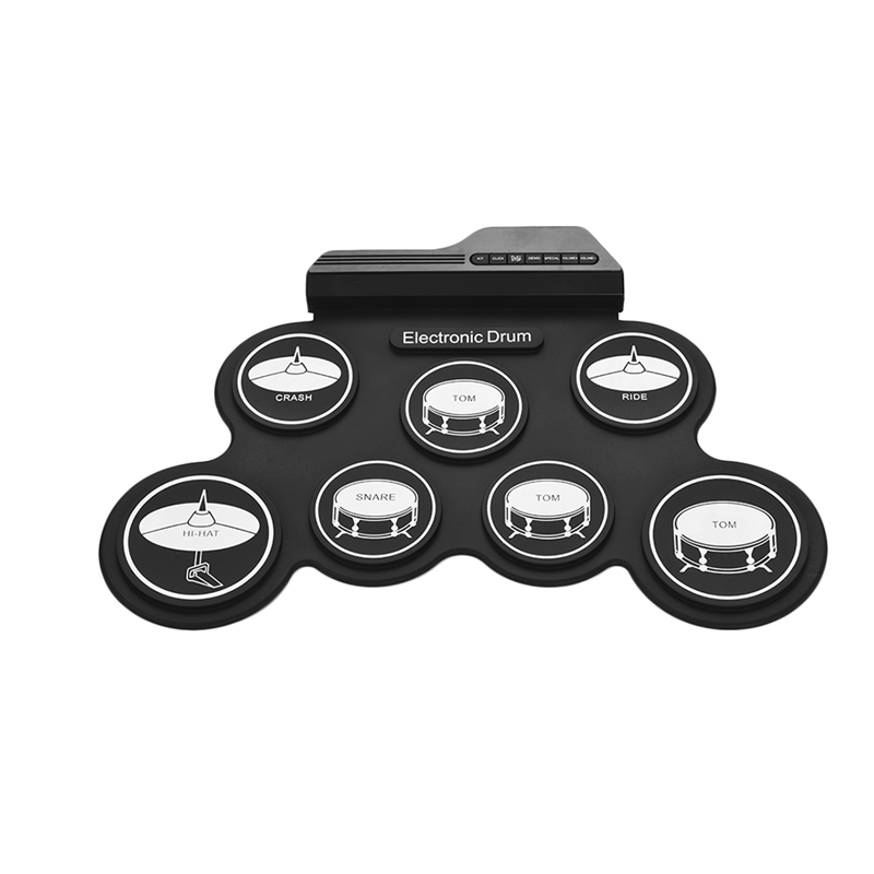 Compact Size Usb Roll-Up Silicon Drum Set Digital Electronic Drum Kit 7 Drum Pads With Drumsticks Foot Pedals For Beginners