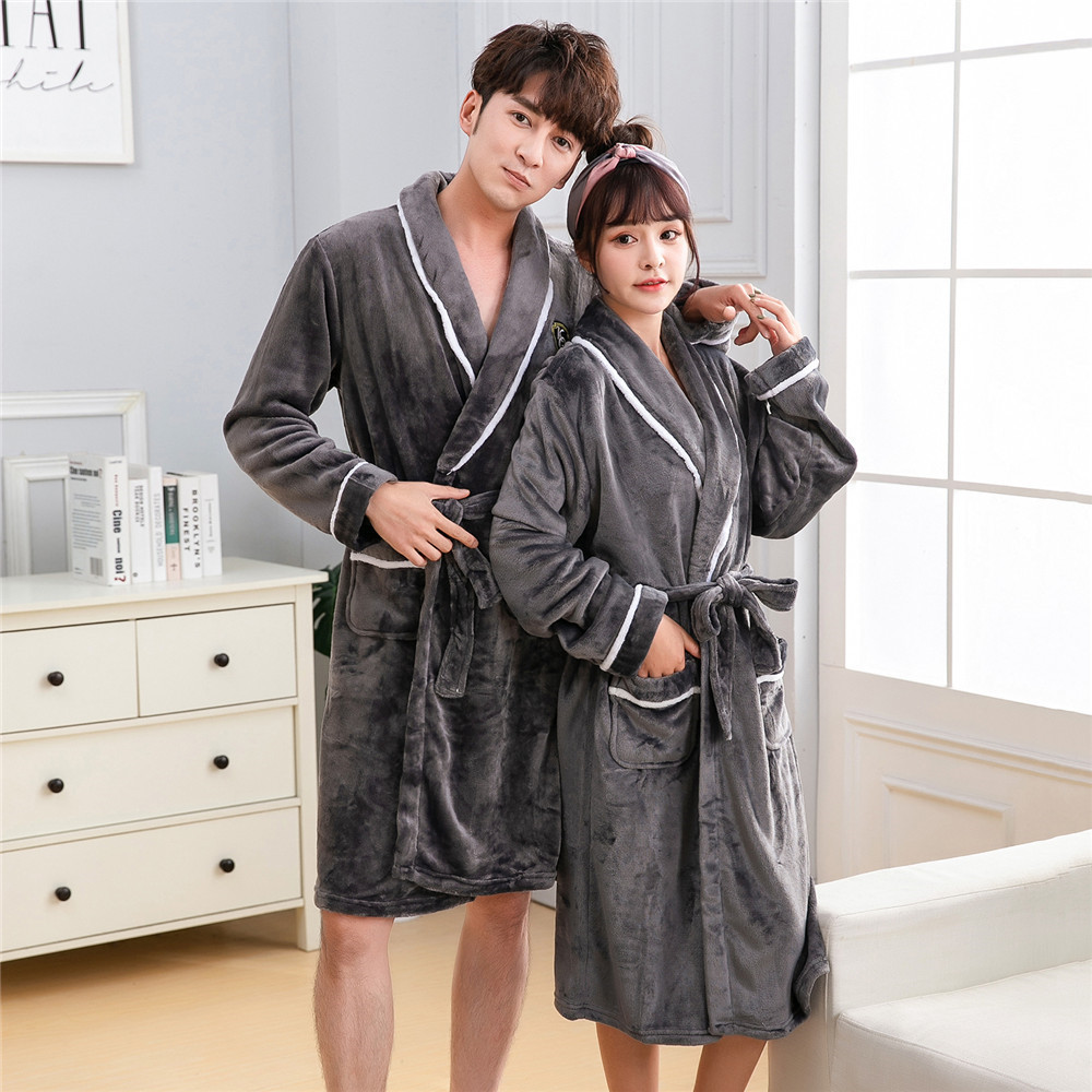 Solid Flannel Casual Soft Lovers Sleepwear Bath Gown Winter Comfortable Soft Men Kimono Robe Gown Keep Warm Homewear Plus Size