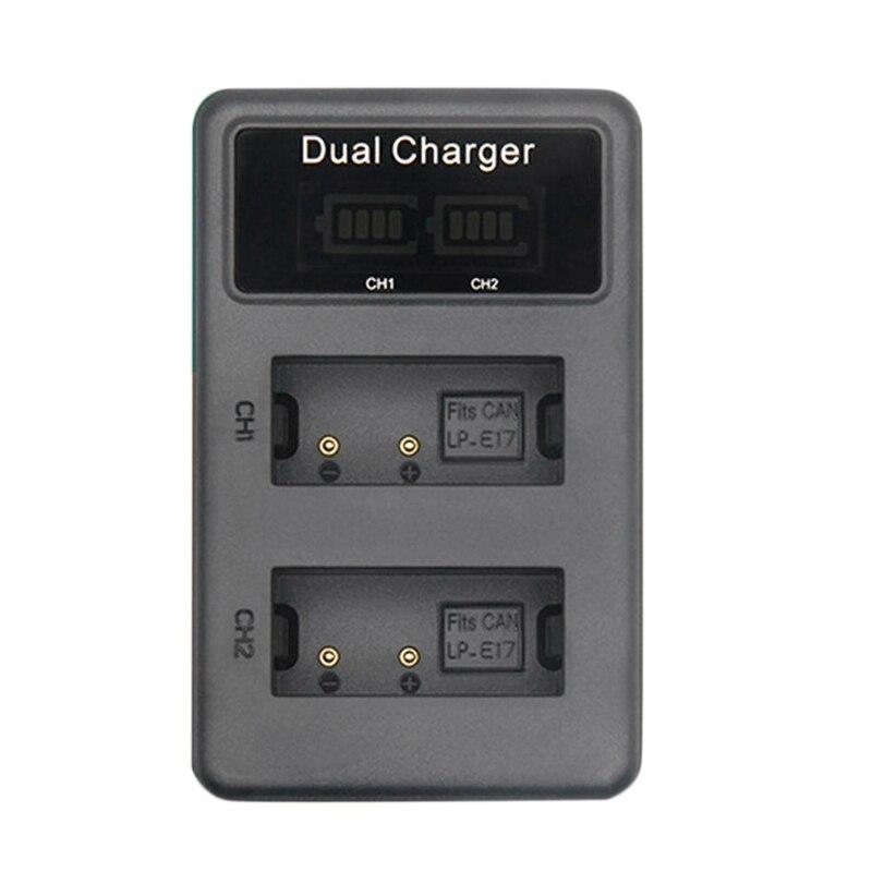 2x LP-E17 Batería Cargador doble para Canon EOS M5 M3 750D 760D Kiss X8i T6i T6s