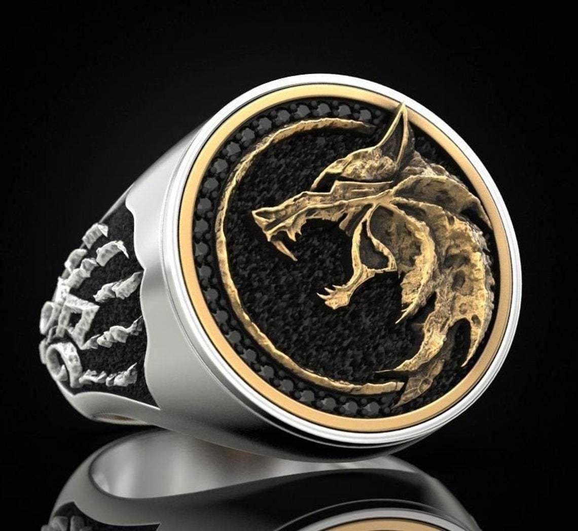 Anel do punk do guerreiro viking do vintage anel da garra do lobo do caçador da bruxa dos homens