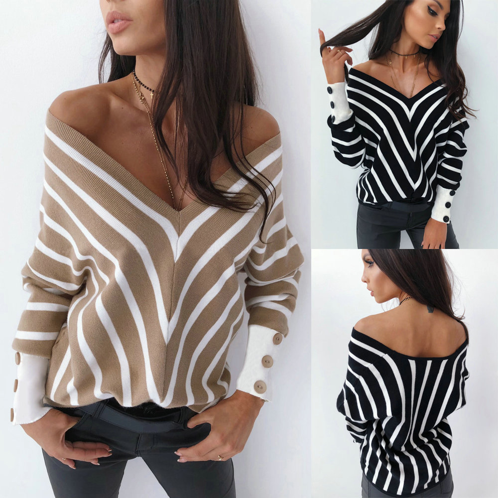2019 Fashion Sexy Tops And Shirt Fall Clothing Sexy Shirt Low Cut Striped Button Batwing Long Sleeve Women Blouse