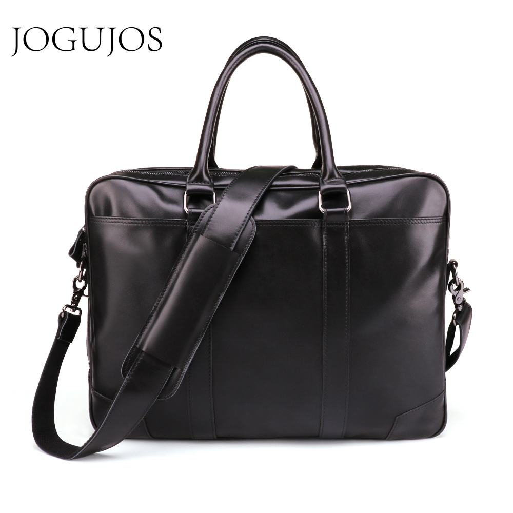 JOGUJOS Upgrade Black Men's Briefcase Genuine Leather Men Business Briefcase Computer Laptop Handbag Man Shoulder Messenger Bags