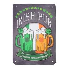 1pc metal irlandês lugar pub estilo irlandês irlanda decoração lugar peça almofada placa clube pub bar casino placa decorativa arte da parede