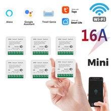 Novo 16a mini wifi inteligente interruptor led luz vida inteligente módulo push suporta 2 vias app relé de voz temporizador com o google casa alexa tuya