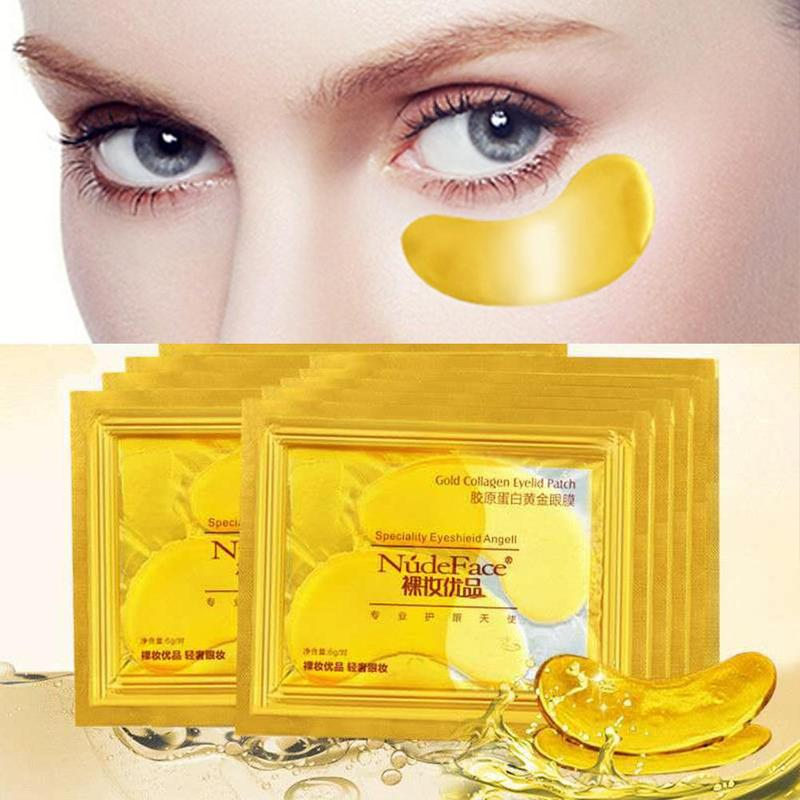 24k Gold Crystal Eye Patch Colageno Gel Eye Pads Cosmetics Collagen Eye Patches Mask Skin Care Eye Patches Mask 2PCS/1 Pair