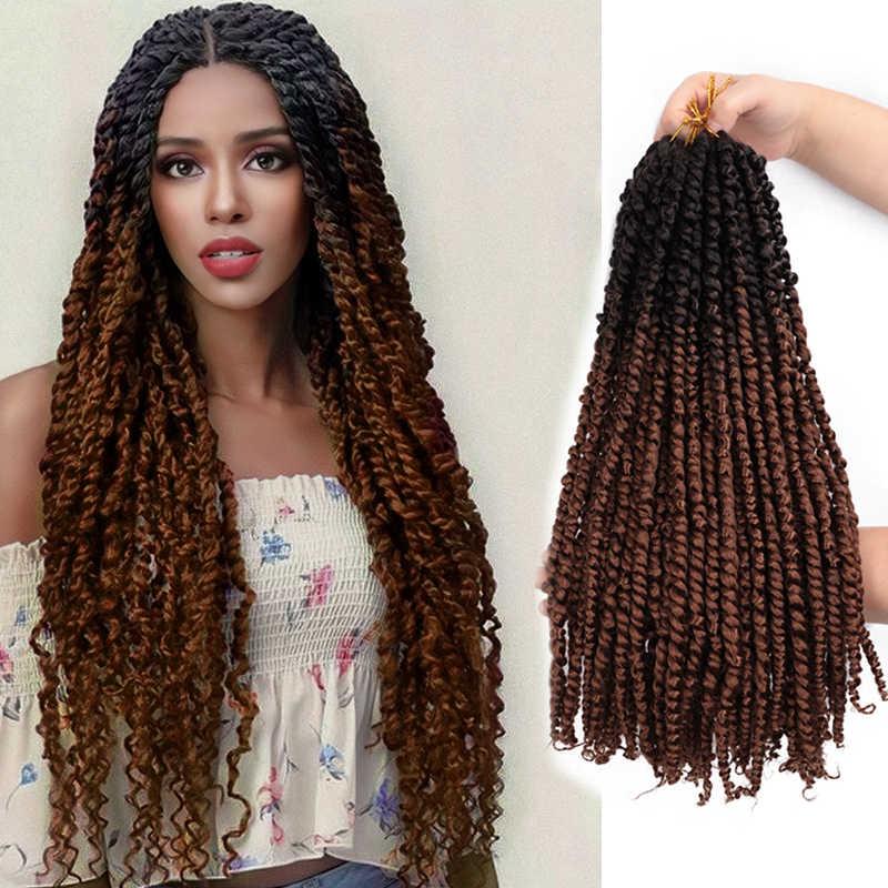 """Trança da rainha ombre macio kinky curly torção trança do cabelo a granel 18 """"sintético longa paixão primavera torção cabelo crochê tranças"""