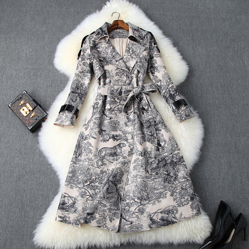 Runway Designer Autumn Winter Long Trench Coat For Women 2019 Fashion Lace Up Retro Animal Print Suede Leather Coats Outerwear