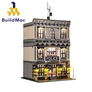 BuildMOC 21474 светодиодный городской полицейский участок мотоцикл вертолет модель строительные блоки кирпичи наборы совместимы с городской 60047