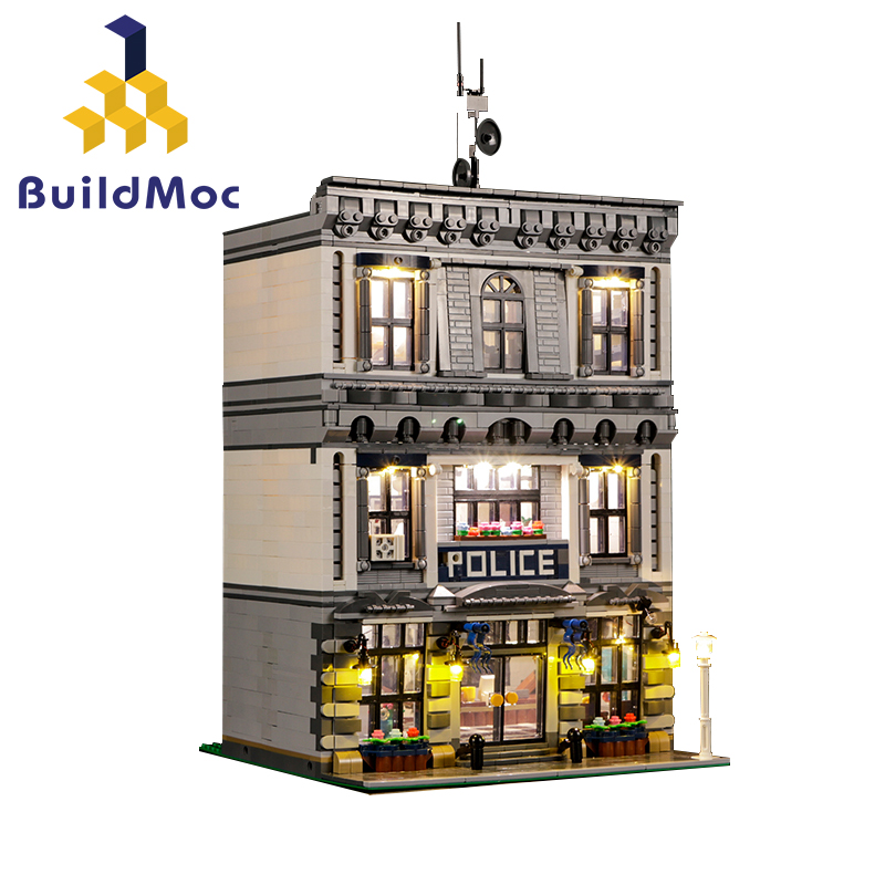 BuildMOC 21474 LED City Police Station Motorbike Helicopter Model Building Blocks Bricks Kits Compatible With City 60047