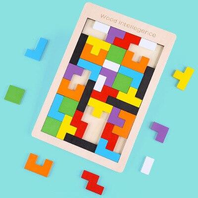 Tangram Colorful Wooden Brain Teaser Puzzle Toys Tetris Game Preschool Magination Montessori Intellectual Educational Kid Toy