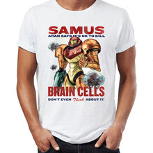 Camiseta para hombre Samus Says It's OK To Kill Brain Cells metroide Artsy impresionante arte impreso Tee(China)