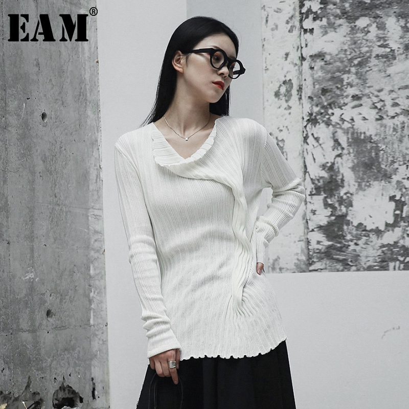 [EAM] White Pleated Big Size Knitting Sweater Loose Fit Round Neck Long Sleeve Women Pullovers New Fashion Spring 2020 JH431