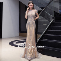 BAZIIINGAAA Luxury Beaded Gold Evening Dress Halter Neck Gold Gown Sleeveless Mermaid Design Suitable for Formal Evening