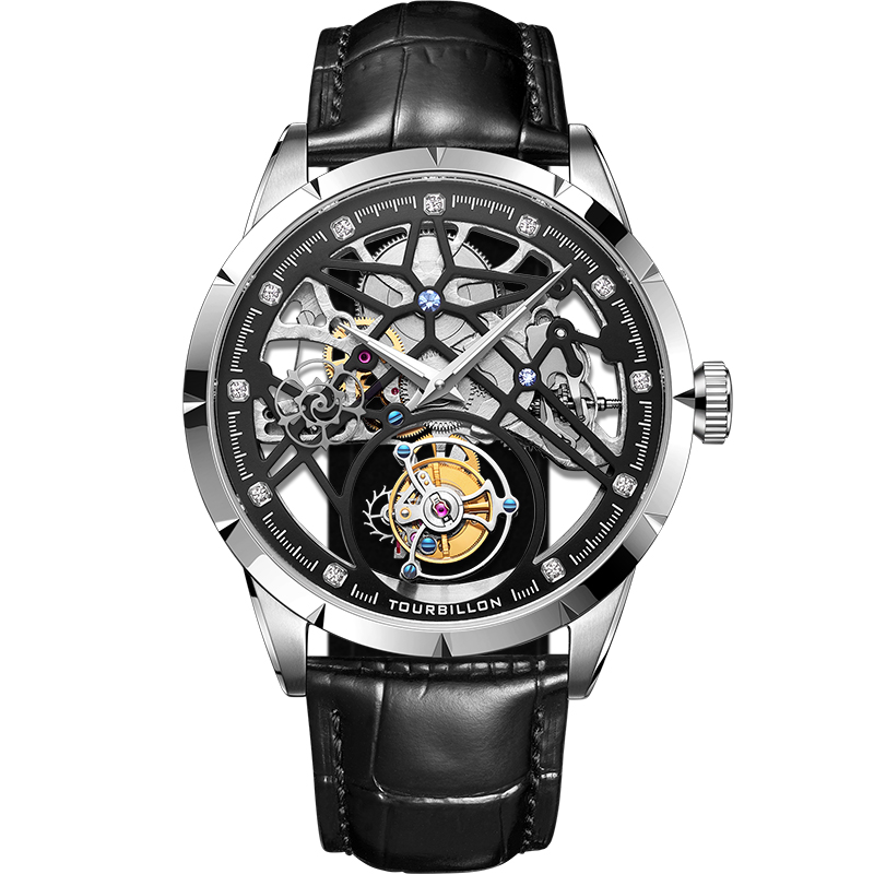 New Model GUANQIN 100% Original Tourbillon men watch top brand luxury double Skeleton Sapphire Relogio Masculino