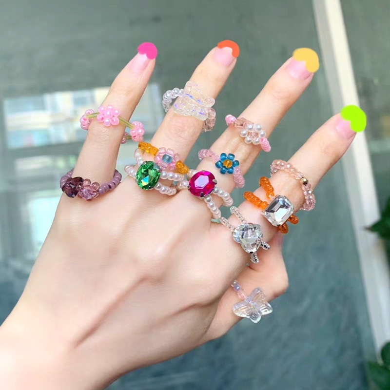 Retro Sweet Butterfly Crystal Transparent Beaded Rings Colorful Korea Trendy Finger Ring for Women Aesthetic Jewelry Accessories