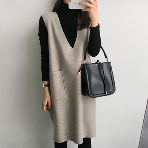 Maternity Women Pregnancy Winter Tank Dresses Mama Clothes Korean Knitted Knee Length Solid Pocket Causal Dress Japan 2020