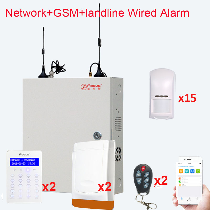FC7688 Plus 8+88 Wired Zones Security Alarm System Anti-theft With Wired Infrared Motion Detector, Wired Siren Alarms