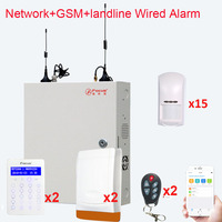 FC7688 Plus 8+88 Wired Zones Security Alarm System anti theft with wired infrared motion detector, wired siren alarms