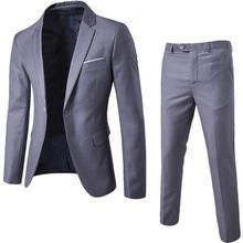 Men Plus Size Two-piece Blazer Suit Set Solid Color Long Sleeve Lapel Slim Fits Button Business Suits
