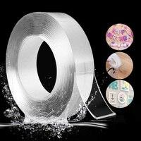 ナノマジックテープ防水 3 メートル両面テープ再利用可能な透明ノンスリップ強力な粘着性ゲルグリップシリコーンテープ
