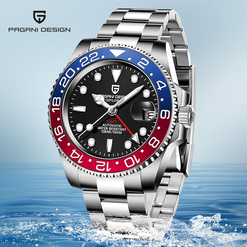 40mm PAGANI DESIGN Black Dial Luminous Sapphire Ceramic Bezel GMT Luxury Automatic Brand Mechanical Men's Waterproof Watch Clock