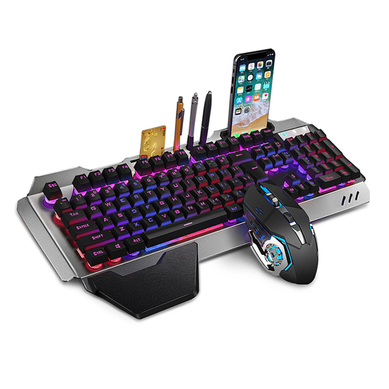 Gaming Keyboard Mouse Set Chargable Wireless Keyboard with Colorful Lights Mouse with 4 Adjustable DPI SP99