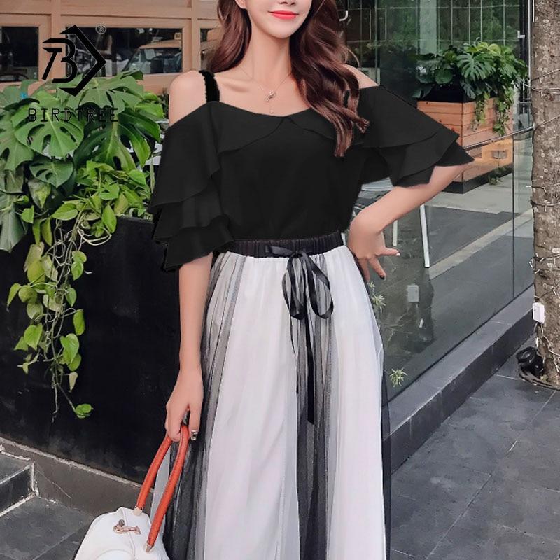 Elegant Women Ruffle Sling Tops Casual Mesh Drawstring Waist Mid Long Skirt 2 Piece Set 2020 Summer Suit S01118M
