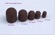 50 piezas/lote 5*11 7*13 10*15 13*19 16*25 cada 10 piezas anillo de tapa de lijado profesional para manicura con taladro eléctrico